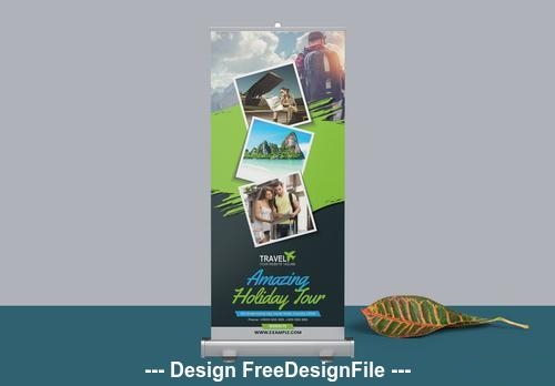 Roll up banner with rectangular vector