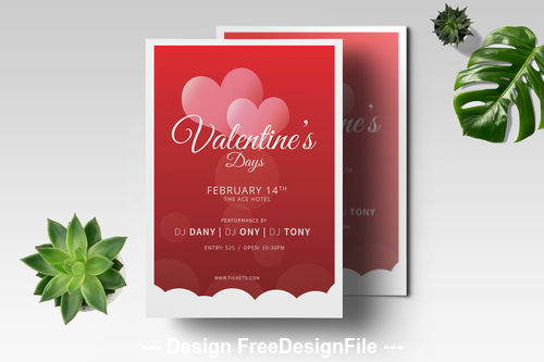 Romantic valentine flyer psd template