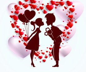 Romantic valentines day silhouette vector