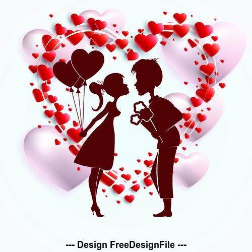 Romantic valentines day silhouette vector