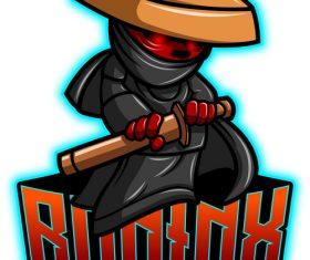 Ronin mascot esport logo vector