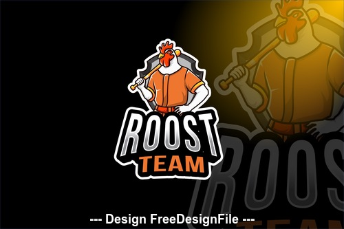 Rooster team sport logo template vector