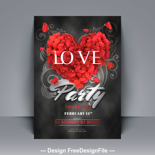 Roses spell heart valentines day card vector