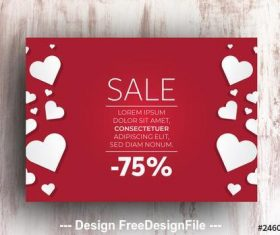 Sale advertisement with hearts vector
