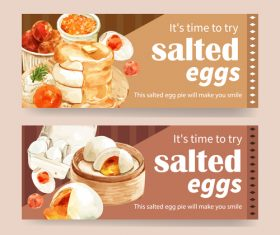 Salted eggs stuffing pastry poster vector