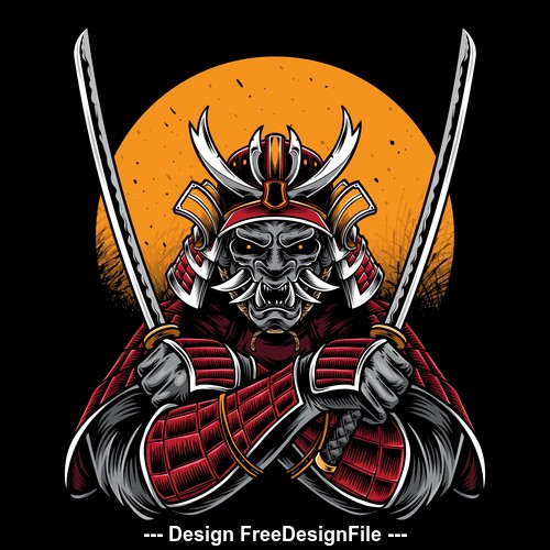 Samurai logo tattoo pattern vector
