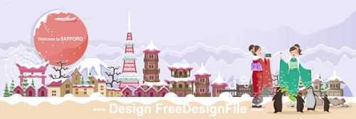 Sapporo landscape cartoon illustration vector