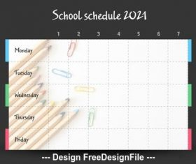 School timetable with pencils vector