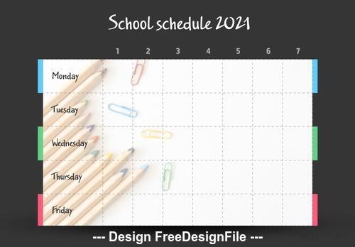 School timetable with pencils vector