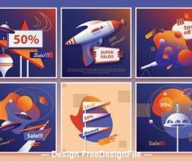 Sci-Fi mid-century retro social media vector