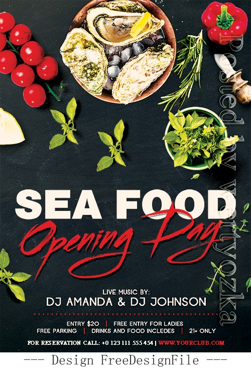 Sea Food Opening Day Poster PSD Template
