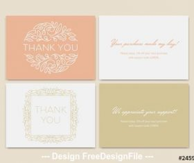 Set of thank you card vector