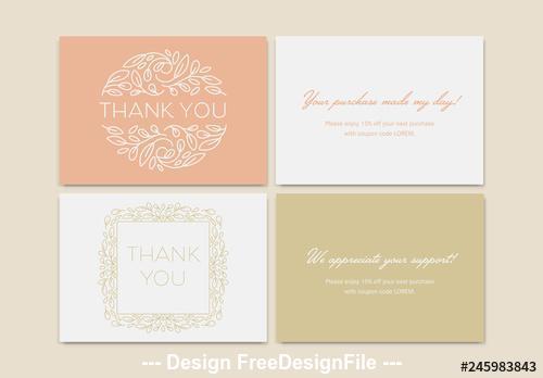 Set of thank you card vector