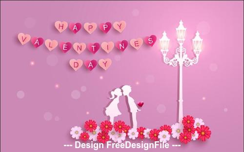 Silhouette happy valentines day dating vector