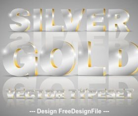 Silver and gold 3D font typeset vector