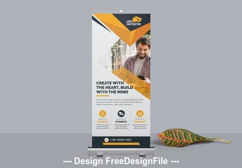 Simple construction roll up banner orange vector
