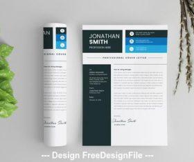 Simple letterhead with blue vector