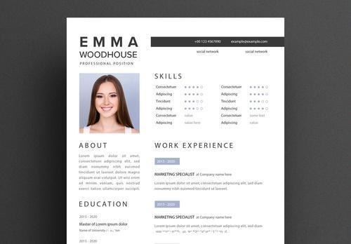Simple resume layout with black vector
