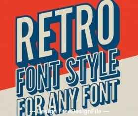 Skewed retro 3D text style vector