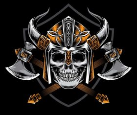 Skull warrior logo tattoo pattern vector