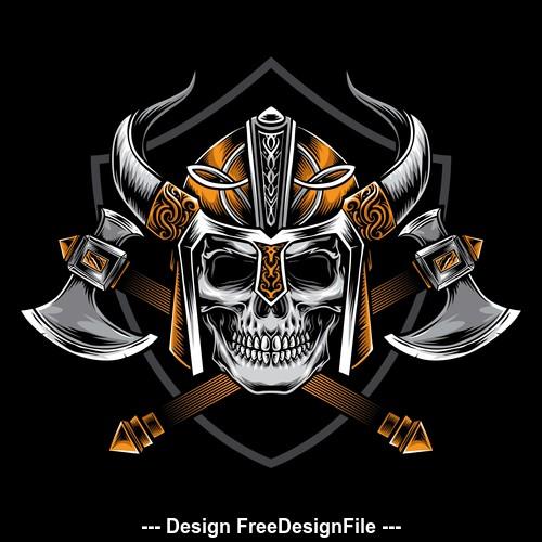 Skull warrior logo tattoo pattern vector