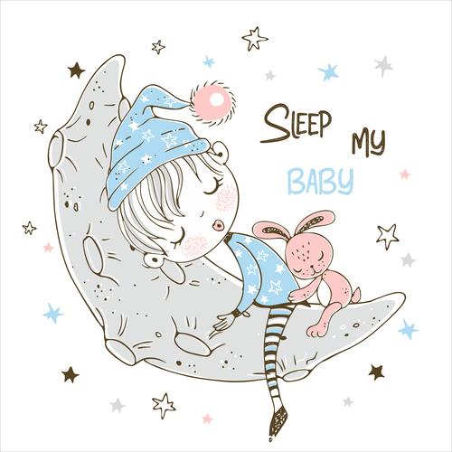 Sleeping little boy cartoon background illustration vector