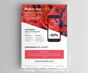 Smartphone flyer layout with red vector