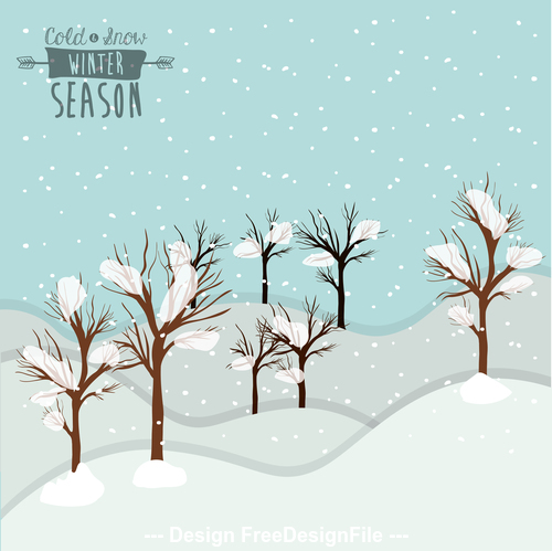 Snow on branches vector