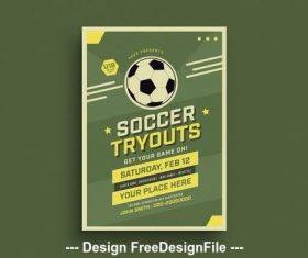 Soccer tryouts flyer vector