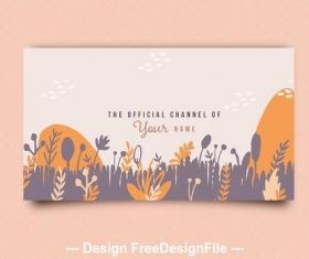 Social media banner with nature illustrations vector