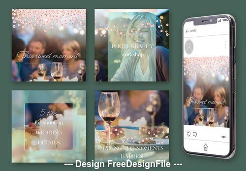 Social media post with mint overlay and pink sequins vector