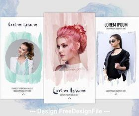 Social media stories layouts with watercolor elements vector