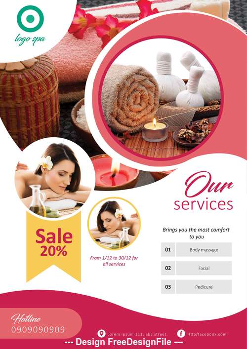 Spa template flyer vector