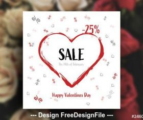 Square Valentines Day Sale card layout vector