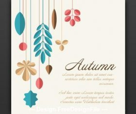 Square autumn card vector