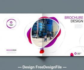 Square cover with red and purple elements vector