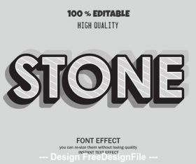 Stone 3d font effect style illustration vector