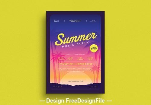 Summer party flyer vector