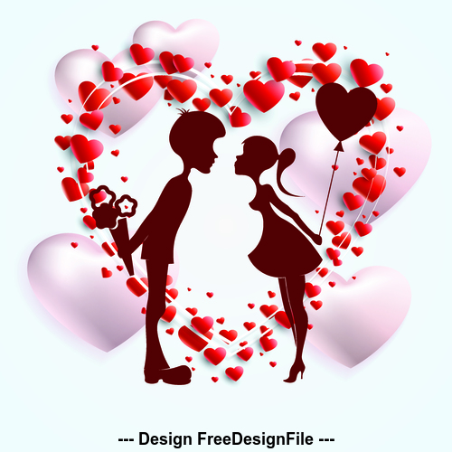 Sweet valentines day silhouette vector