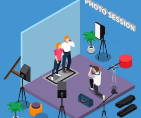 Taking pictures cartoon background vector