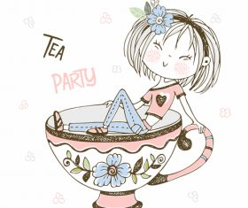 Tea party cartoon illustration vector