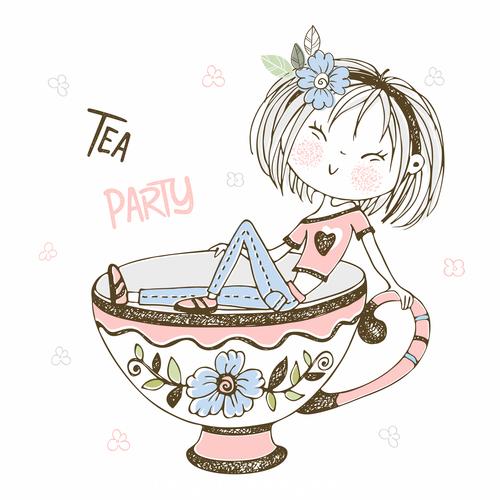 Tea party cartoon illustration vector