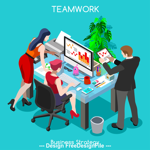 Teamwork business strategy vector