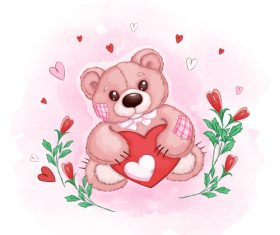 Teddy bear cartoon illustration vector