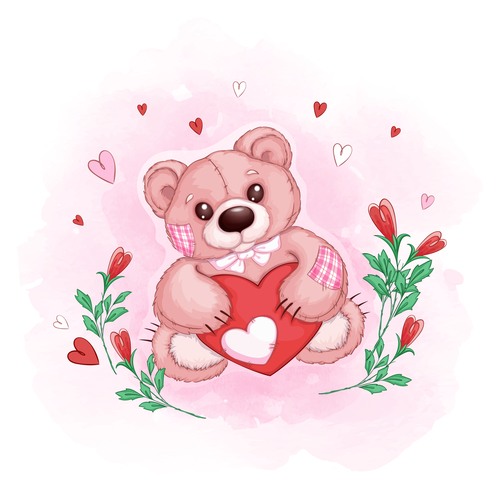 Teddy bear cartoon illustration vector