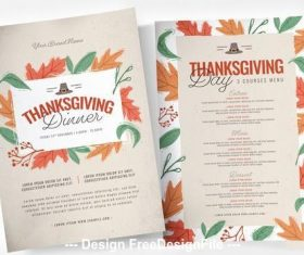 Thanksgiving dinner menu and poster vector