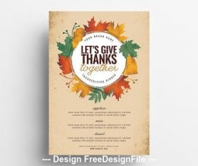 Thanksgiving dinner poster layout with illustrated vector