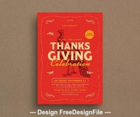 Thanksgiving red poster vector