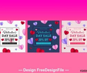 Three valentines day sale social media post vector
