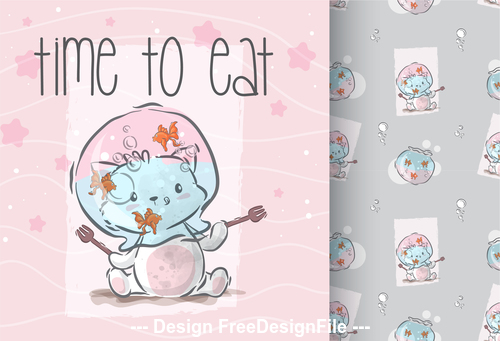 Time to eat cartoon decorative pattern vector